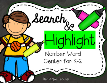 FREEBIE--Search & Highlight: A Number Word Center for K-2