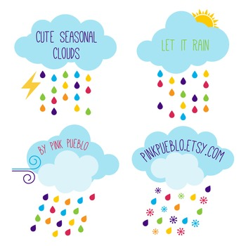 FREEBIE! Seasonal Clouds Clipart Clip Art