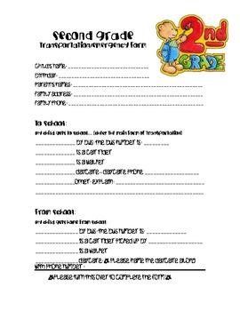 FREEBIE!! Second grade transportation/emergency contact form