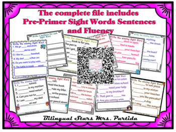 FREEBIE Sentences for Pre-Primer Sight Words Fluency for Seesaw PNGs