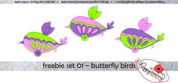 FREEBIE Set 01: Butterfly Birds Clipart by Poppydreamz