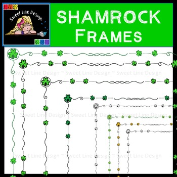 Clipart : FREEBIE!  Thin Shamrock Frames {Sweet Line Design Clipart}