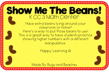 FREEBIE Show Me The Beans! K.CC.3 Math Center
