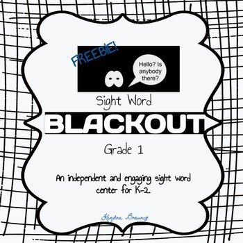 FREEBIE Sight Word Blackout: Grade 1