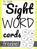 FREEBIE! Sight Word Cards