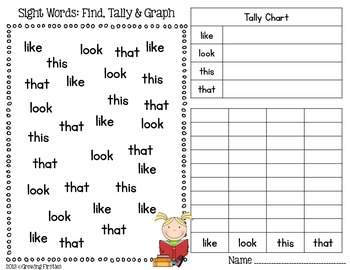 FREEBIE Sight Word Find, Tally & Graph by Growing Firsties by ...