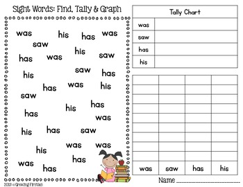 FREEBIE Sight Word Find, Tally & Graph by Growing Firsties