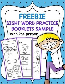 FREEBIE  Sight Word Practice Booklets Sample - Pre-primer