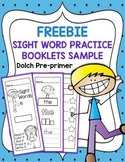 FREEBIE  Sight Word Practice Booklets Sample - Pre-primer
