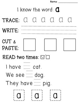Sight Word Practice with Reading Fluency {Trace, Write, Read} - PREVIEW!