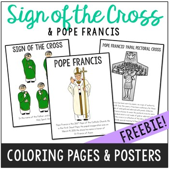 sign of the cross and pope francis posters and coloring pages catholic