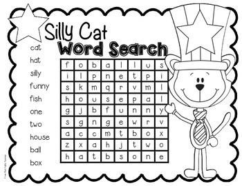 FREEBIE--Silly Cat Word Search for K-2