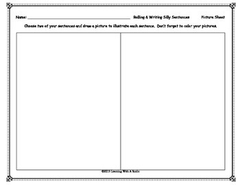 Sentence FREEBIE - Fun with  Silly Sentences - Roll & Write - Great Center!