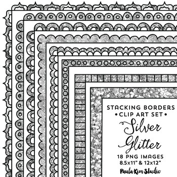 Silver Glitter Frames Stackable Borders