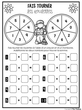 FREEBIE Single-digit Addition Spinners/Roulettes d'addition pour l'automne