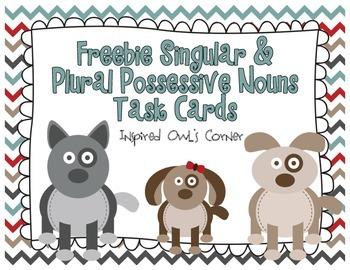 FREEBIE Singular and Plural Puppies Possessive Nouns Task Cards