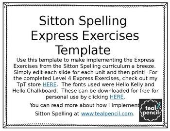 FREEBIE Sitton Spelling Express Exercises Editable Template
