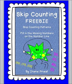 FREEBIE- Skip Counting by 2, 5, 10, 25, 100 -Patterns and Number Line Worksheet