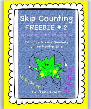 FREEBIE - Skip Counting by 2, 5, 10, 100 - Patterns and Number Line Worksheet