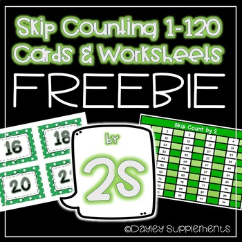 FREEBIE Skip Counting by 2s Cards and Worksheet