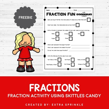 FREEBIE Skittles Candy Fraction Activity