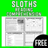 FREEBIE - Sloths Reading Passage and Comprehension