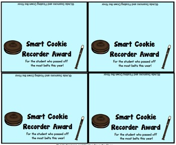 FREEBIE Smart Cookie Recorder Award for a class or individual students