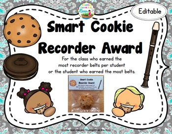 FREEBIE Smart Cookie Recorder Award for a class or individ
