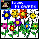 Clipart: FREEBIE! Smiling Flowers {Sweet Line Design Clipart}