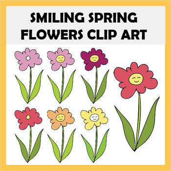 FREEBIE - Smiling Spring Flowers Clip Art Set - 12 images