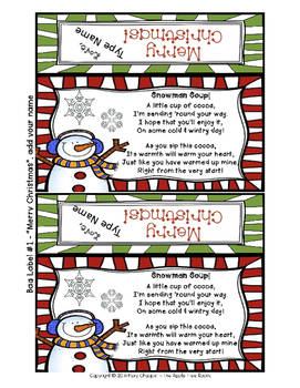 FREEBIE Snowman Soup Holiday Gift Bag Editable Poem, Labels ,and Directions