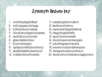 FREEBIE!!  Snowman Synonyms
