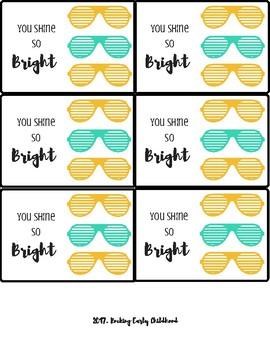 FREEBIE! So Bright - Sunglasses gift tags!