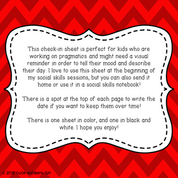 Social Skills Check-In Sheet for Speech Therapy! FREEBIE!