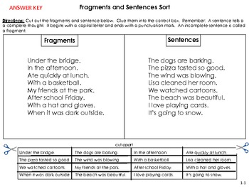 FREEBIE Sorting Activity Fragments/Sentences