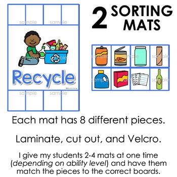 FREE Recycling and Trash Sorting Mats for Students with Special Needs