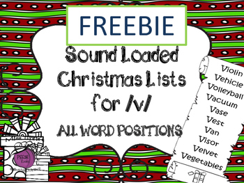 FREEBIE Sound Loaded Christmas Lists for Articulation  ~/v/~ AWP