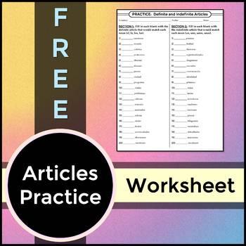 FREEBIE: Spanish 1 - Definite and Indefinite Articles Practice Worksheet