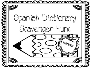 FREEBIE- Spanish Dictionary Scavenger Hunt- Months of the Year