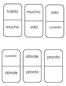 FREEBIE Spanish Sight Words Domino