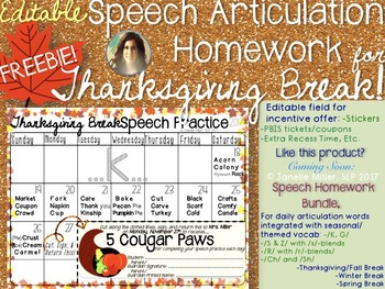 Speech Articulation Homework for Thanksgiving Break: /K/ {FREEBIE}