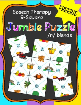 FREEBIE - Speech Therapy 9-Square Jumble Puzzle - /r/ blends