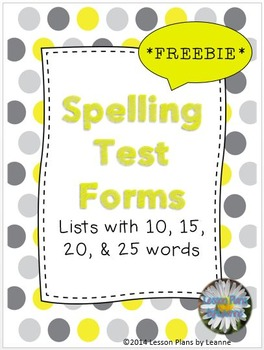 *FREEBIE*  Spelling Test Forms (10,15,20,25 word lists)