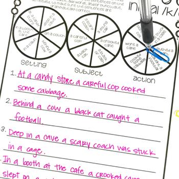 FREEBIE! Spin A Silly Sentence: /K/ Articulation Activities & Homework