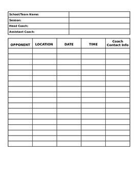 FREEBIE - Sports Schedule Template
