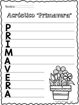 FREEBIE Spring Acrostic Poem {Spanish}