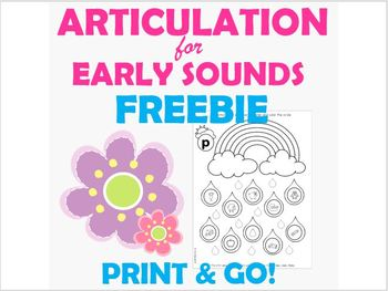 FREEBIE! Spring Articulation PRINT & GO worksheet for Early Sounds /p/