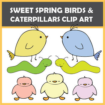 FREEBIE – Spring Birds and Caterpillars for Easter – 13 images