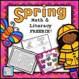 Spring Math and Literacy K-2 FREE