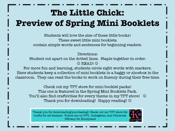 Spring Mini Book FREEBIE and PREVIEW: The Little Chick